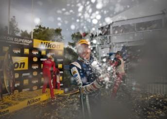Winterbottom celebrates on the podium