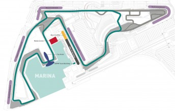 A track map of the circuit that the V8 Supercars will race on at the Yas Marina circuit