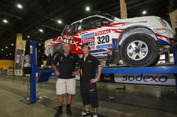 Bruce Garland (left) & Harry Suzuki with their D-MAX at Dakar scrutineering