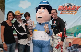 Comedian Paul McDermott and his family with Roary character 'Big Chris' and Craig Lowndes