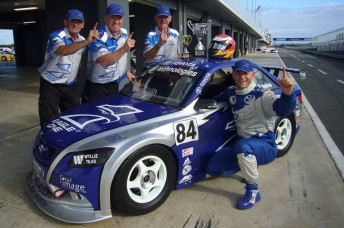 Adam Gowans and his team celebrate their Aussie Racing Car success at Phillip Island last year