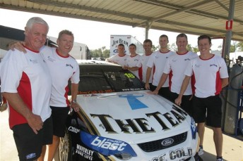 From left to right; Dick Johnson, Charlie Schwerkolt, Marcus Marshall, David Russell, Warren Luff, Jonathon Webb, Steven Johnson and James Courtney at Queensland Raceway today