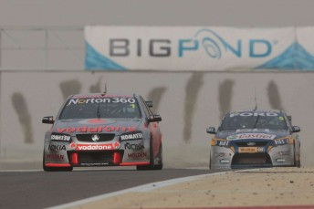 Jamie Whincup leads Mark Winterbottom at the Bahrain International Circuit