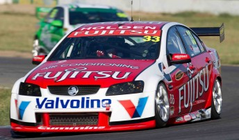 Lee Holdsworth at today's V8 Supercars test at Winton Raceway – his first drive of the Fujitsu-backed Commodore VE