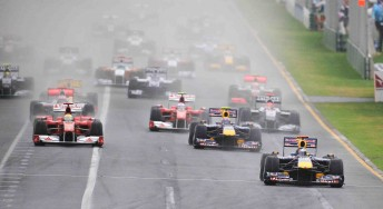 Red Bull's Sebastian Vettel leads the field at the start of the 2010 Formula One Qantas Australian Grand Prix