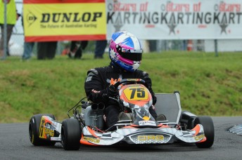 Treseder in action during the opening round of the 2010 CIK Stars of Karting Series in Newcastle. Pic: photowagon.com.au