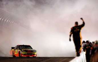 Ryan Newman celebrates his first victory for Stewart-Haas Racing in Phoenix