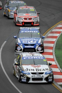 Courtney leads Shane van Gisbergen, Craig Lowndes and Mark Winterbottom at the AGP