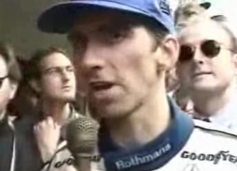 Damon Hill after winning the 1996 Formula One World Championship