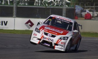 Jack Perkins steers the #14 Toyota Aussie Racer (on two wheels!) in Adelaide recently