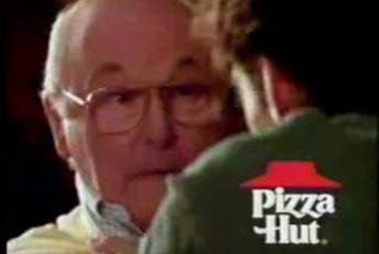 Damon Hill strangles Murray Walker in the Pizza Hut advert