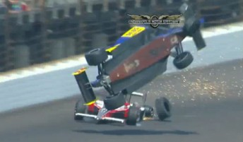 Mike Conway gets airborne after contact with Ryan Hunter-Reay