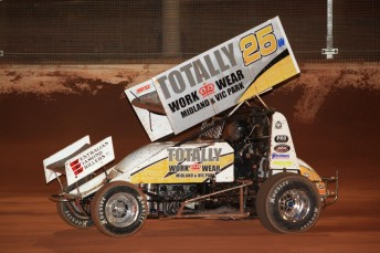 James McFadden on his way to victory in the Valvoline Australian Sprintcar Championship. Pic: Paul Carruthers