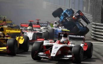 ART driver Sam Bird (foreground) avoids the carnage at Monaco yesterday