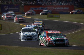 Castrol Racing's Greg Murphy leads the single-file field at Hidden Valley