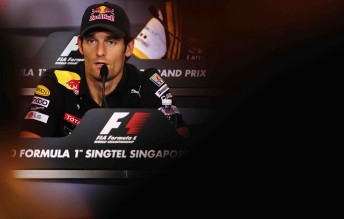 Mark Webber attends the driver's press conference for the Singapore Formula One Grand Prix at the Marina Bay Street Circuit in Singapore