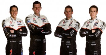 Allan Grice wannbes! McConville, Tander, Davison and Reynolds in their tribute 1990-spec race suits that they'll compete in next week at Bathurst