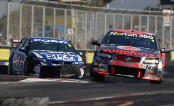 Jamie Whincup leads Shane van Gisbergen at Surfers Paradise