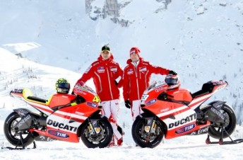Rossi and Hayden brave the cold in the Italian alps