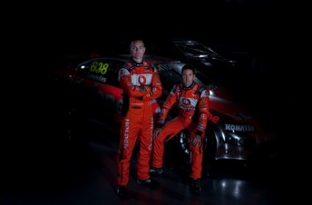 Lowndes and Whincup hiding in the shadows with their 2011 Holden Commodore