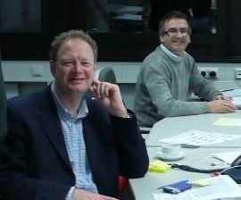 Coughlan (left) with fellow former McLaren man Phil Adey at StefanGP