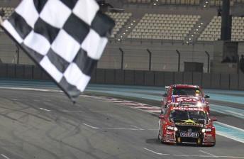 James Courtney cross the line to win Race 2