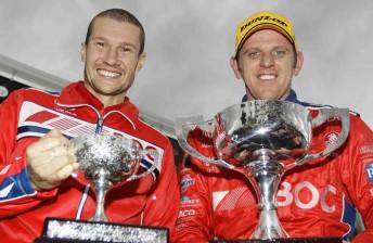 Jason Richards with Jason Bright on Winton's podium last week