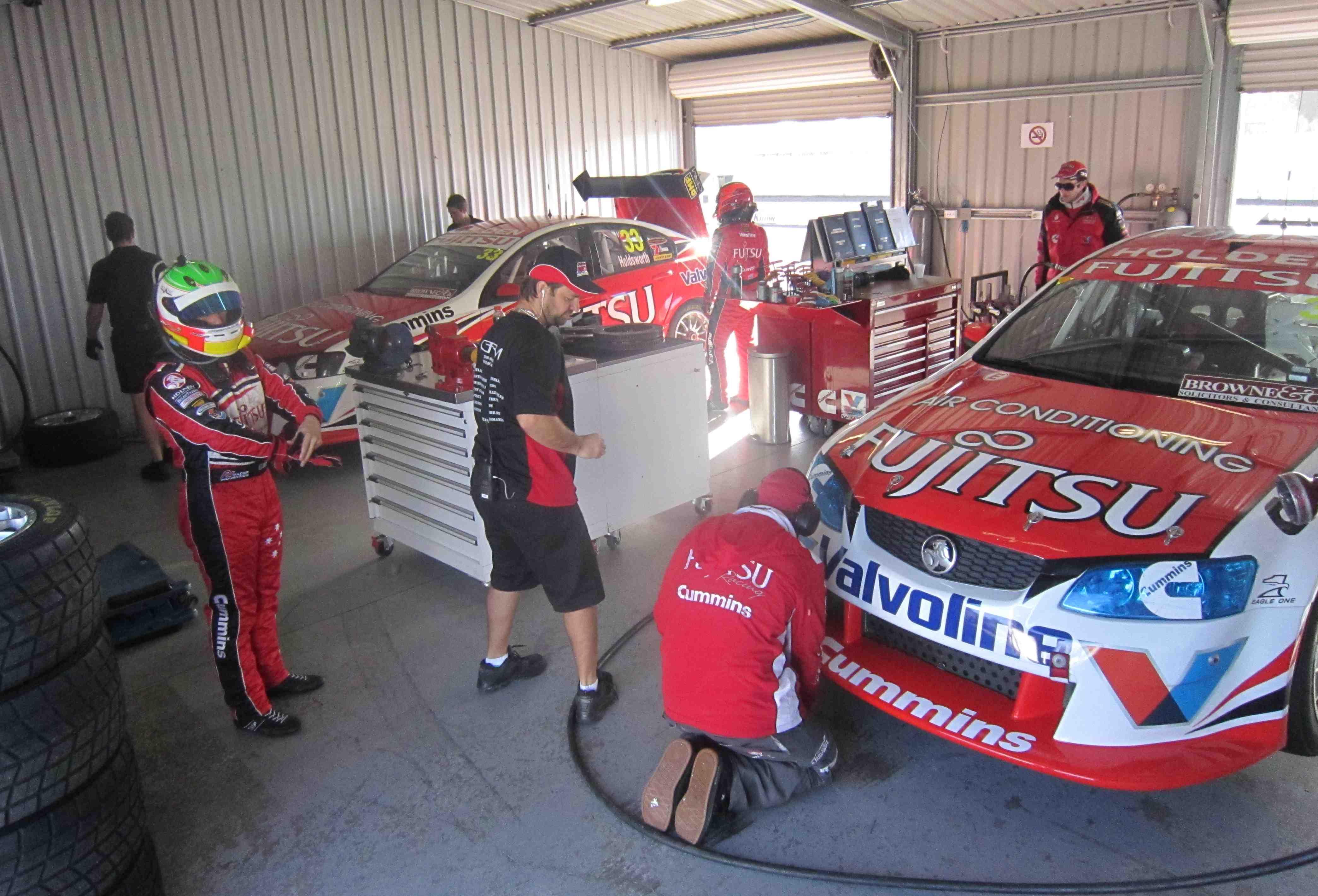 Nine V8 Supercars testing at Winton today