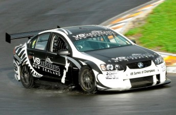 The Holden-bodied V8SuperTourer prototype in action