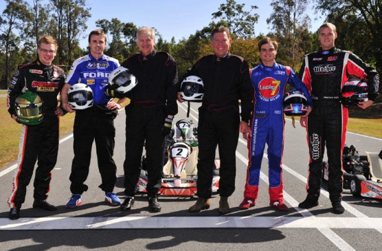Four V8 drivers in Ipswich karting challenge