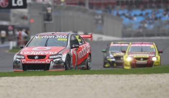 Craig Lowndes leads the PMM Commodores of Russell Ingall and Steve Owen