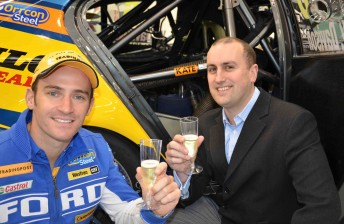 Will Davison with competition winner Michael Barnett from Trading Post toast 'Kate'