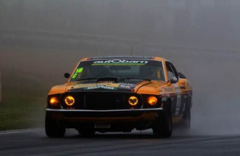 The Mustang through the spray at Mount Panorama