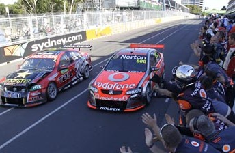 Craig Lowndes won Saturday's race at the Sydney Telstra 500