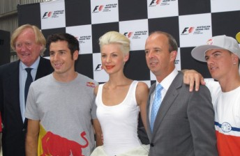 From left: Ron Walker, Rick Kelly, Kate Peck, Andrew Westacott and Jackson Strong at today's launch
