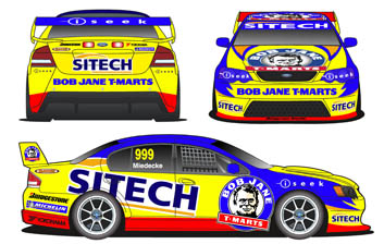 An artists impression of Miedecke's #999 Sonic Motor Racing Ford Falcon