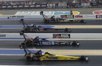 Spencer Massey (near lane) took the win and Championship lead from Antron Brown (second from bottom)