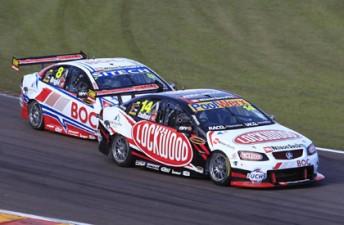 Team BOC's Jason Bright trailing Lockwood Racing's Fabian Coulthard