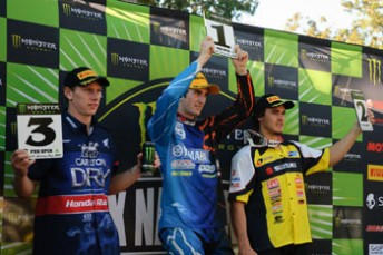 Brad Anderson (L) and Todd Waters (R) flank first time MX Nationals round winner, Lawson Bopping
