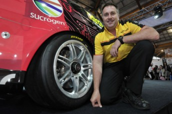 Dunlop Motorsportr manager Kevin Fitzsimons with the new 18 inch Dunlop tyres