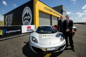 NSW Minister for Tourism George Souris (left) and NSW Minister for Sport Graham Annesley announce the Top Gear Festival will be at Sydney Motorsport Park
