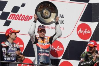 Australian MotoGP winner Casey Stoner on the podium with Jorge Lorenzo (left) and Cal Crutchlow (right)
