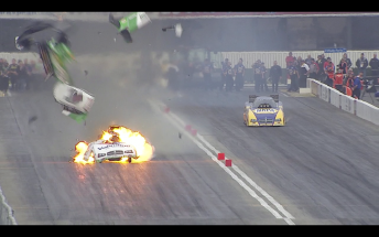 Beckman Blowup 344x215 NHRA Funny Car points leader walks away from spectacular explosion