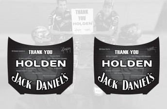 The Holden tribute bonnets to be run at Sydney on the Castrol-backed Jack Daniel's Racing Commodores