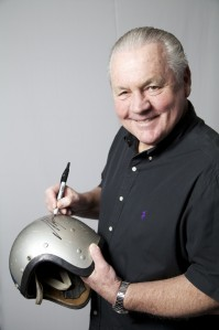 Alan Jones with the vintage AGV helmet