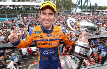 Will Davison with the Race 30 trophy