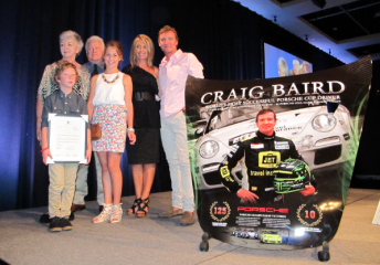 Craig Baird with his family at the end of season Carrera Cup awards