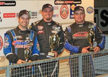 Tim Kaeding (centre) is flanked by Darren Mollenoyux (3rd - left) and Steven Lines (PIC: Ben Graham)