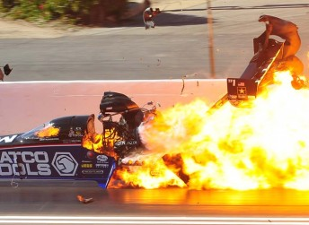 Antron Brown walked away from this inferno (PIC: CompetitionPlus.com/Marty Reger)