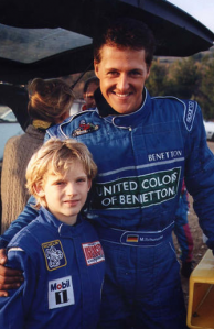 A fresh-faced Engel poses with then Benetton Formula 1 driver Michael Schumacher